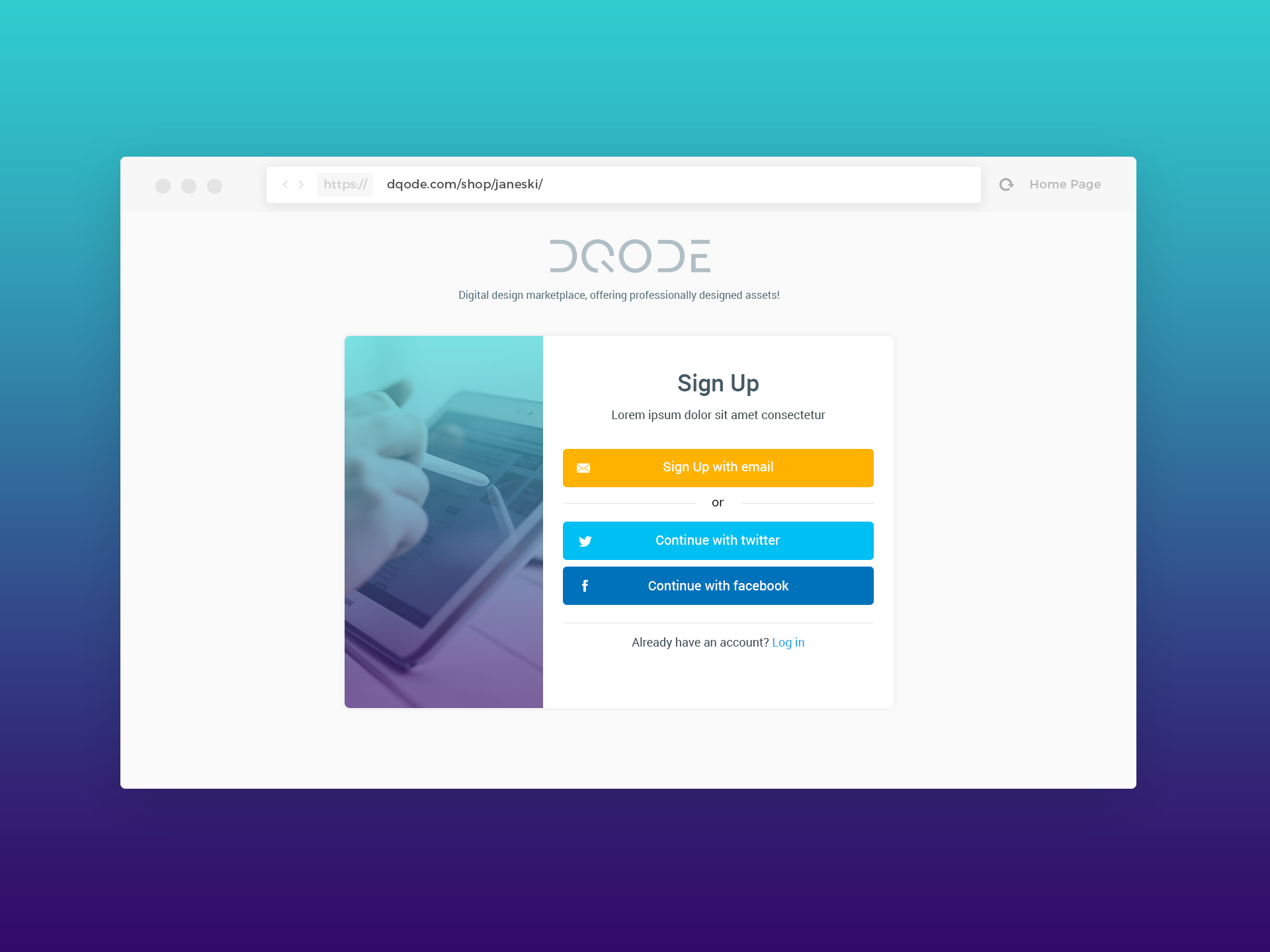 sign up form ui template dqode